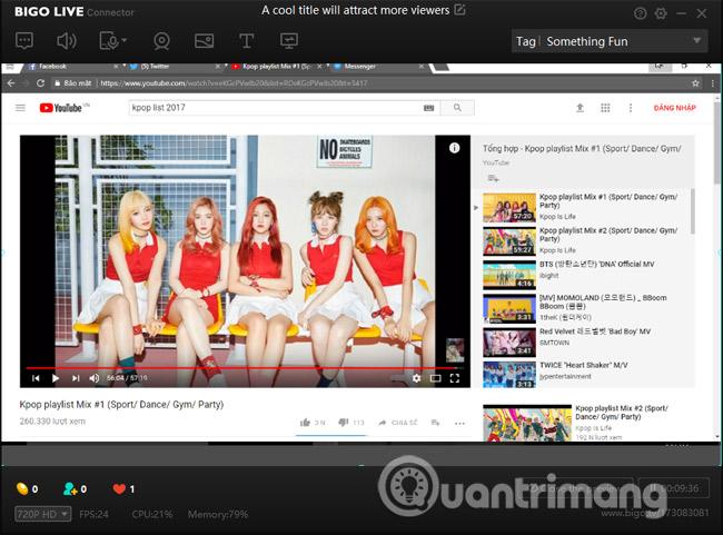 Giao diện live stream Bigo Live PC
