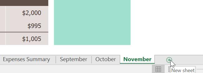 Xác định vị trí và chọn nút New sheet (bảng tính mới) ở góc dưới cùng bên phải cửa sổ Excel.