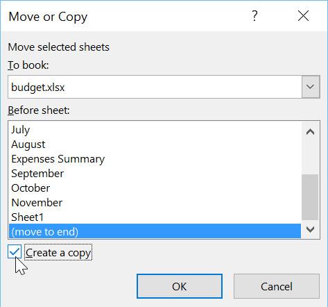 Chọn hộp bên cạnh Create a copy (Tạo một bản sao), sau đó nhấp vào OK.