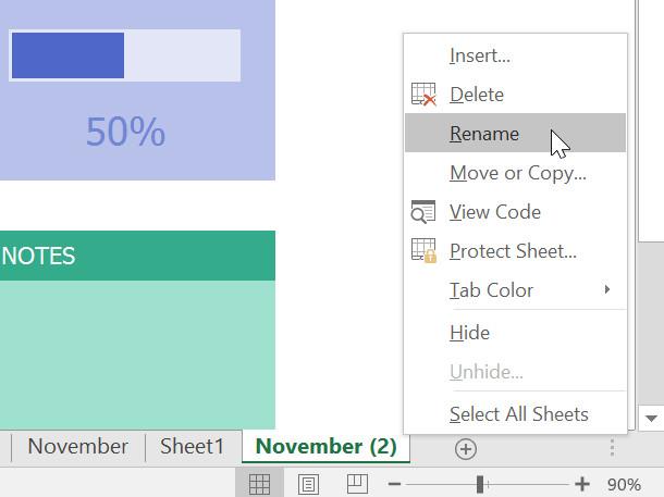 Nhấp chuột phải vào bảng tính mà bạn muốn đổi tên, sau đó chọn Rename từ menu bảng tính.