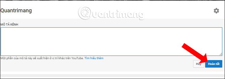 Nhập nội dung mô tả kênh Youtube