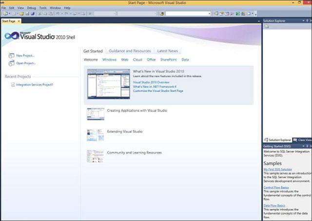 Mở môi trường SSDT trong MS SQL Server để tạo báo cáo