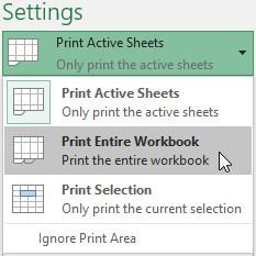 Chọn Print Entire Workbook (In toàn bộ bảng tính) từ trình đơn thả xuống Print Range (Vùng in).