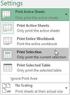 Chọn Print Selection từ trình đơn thả xuống Print Range.
