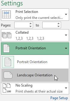 Chọn hướng mong muốn từ trình đơn thả xuống Page Orientation