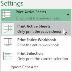 Chọn Print Active Sheets