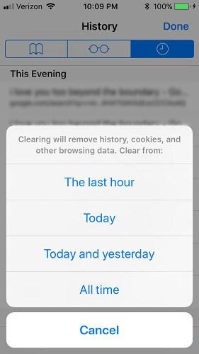 Các tùy chọn xóa lịch sử duyệt web trên Safari