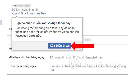 Xóa số điện thoại cũ Facebook