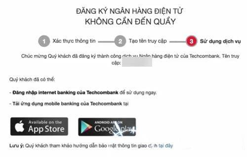 Hướng dẫn đăng ký Internet Banking Techcombank trực tuyến