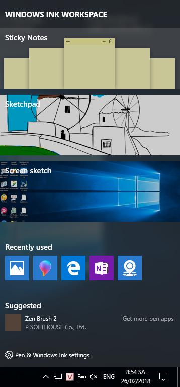 Mở hộp thoại Windows Ink Workspace