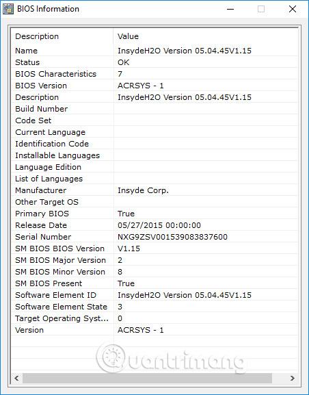 Hiện thông tin BIOS