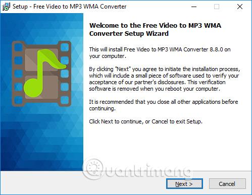 Cài phần mềm Free Video To MP3 WMA Converter