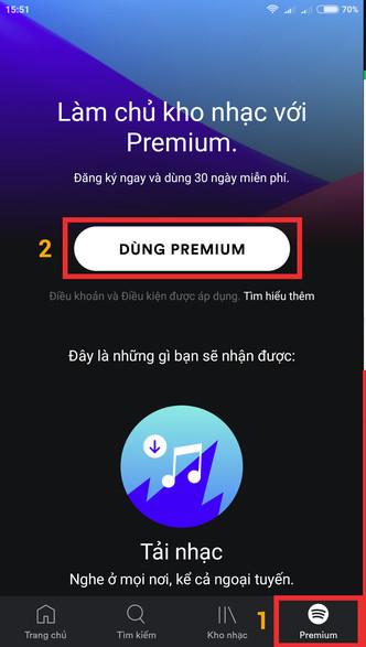 Mở Spotify để cài đặt