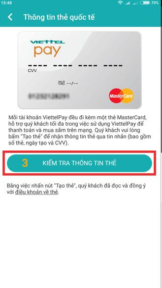 Kiểm tra thông tin thẻ