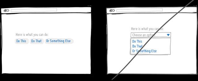 Hiển thị tối đa lựa chọn người dùng thay vì ẩn chúng đi