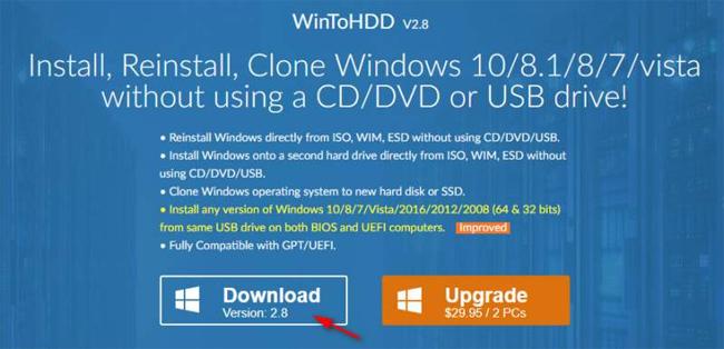Mời tải WinToHDD Professional 2 8, phần mềm giúp cài Windows
