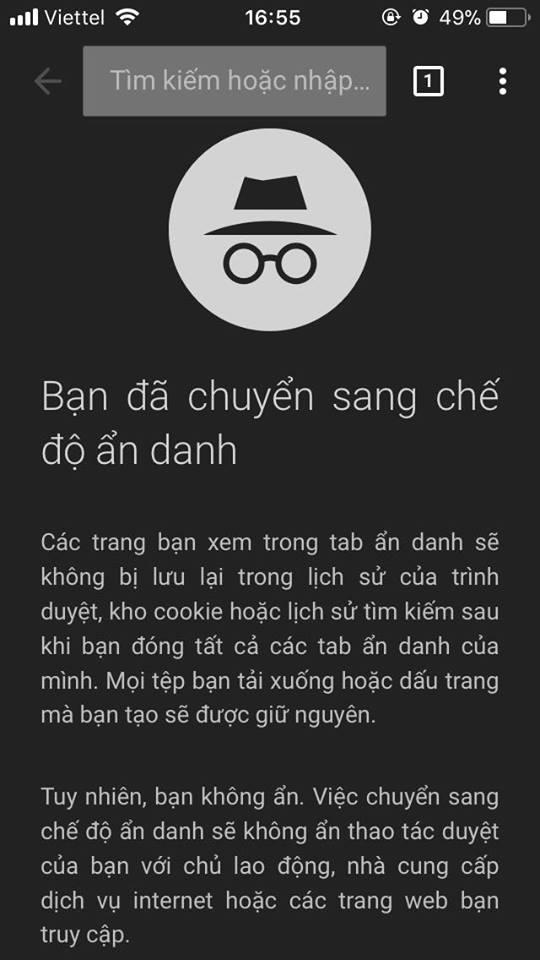 Tab ẩn danh trên Chrome