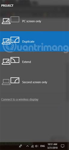 Chọn nhân đôi màn hình trên laptop