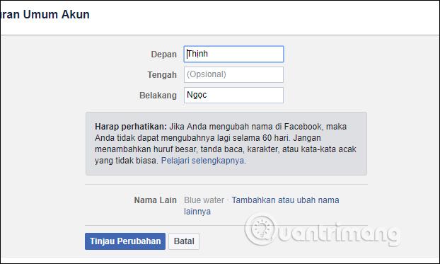 Giao diện đổi tên Facebook