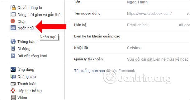 Thay đổi ngôn ngữ Facebook