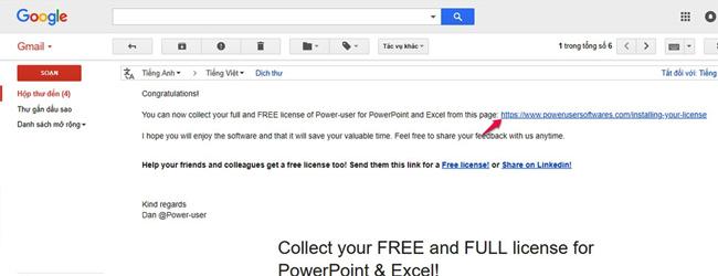 Mở Email đã đăng ký và kiểm tra