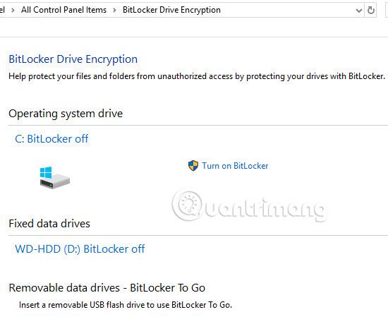 Bật tính năng mã hóa BitLocker