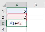 Trong công thức dưới đây, ô A3 thêm các giá trị của ô A1 vàô A2 bằng cách làm các tham chiếu ô: