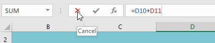 Nếu bạn đổi ý, bạn có thể nhấn phím Esc trên bàn phím hoặc nhấp vào lệnh Cancel (Hủy) trên thanh công thức để tránh thay đổi công thức của bạn.