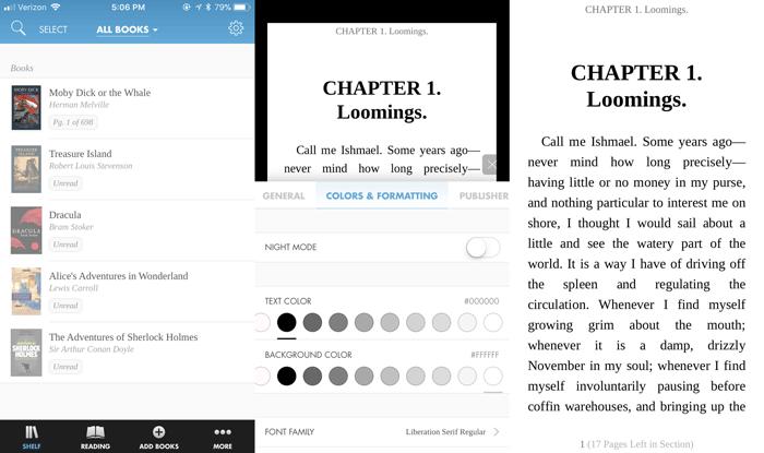 Giao diện ứng dụng đọc ebook Hyphen trên iPhone