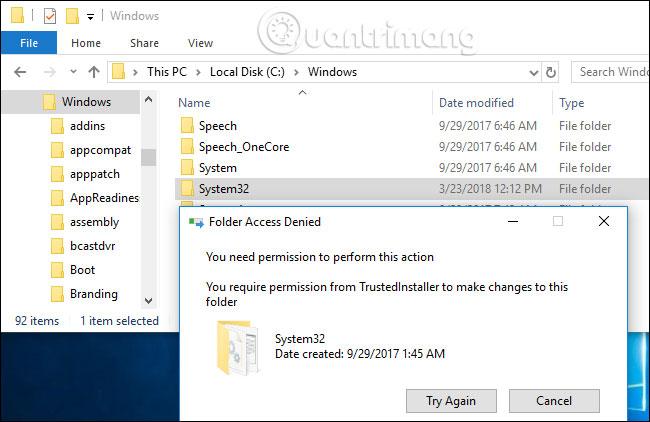 Thông báo Folder Access Denied