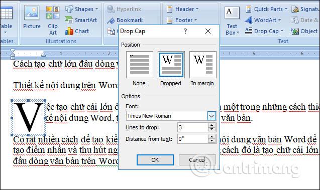 Tùy chỉnh chữ to đầu dòng