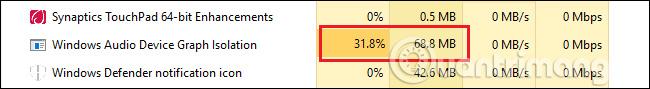 Windows Audio Device Graph Isolation sử dụng nhiều tài nguyên hệ thống