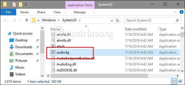 File lưu trữ trong thư mục System32