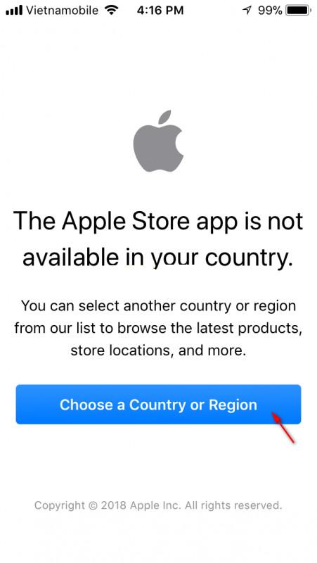 Nhấp vào menu Chọn quốc gia hoặc khu vực khu vực
