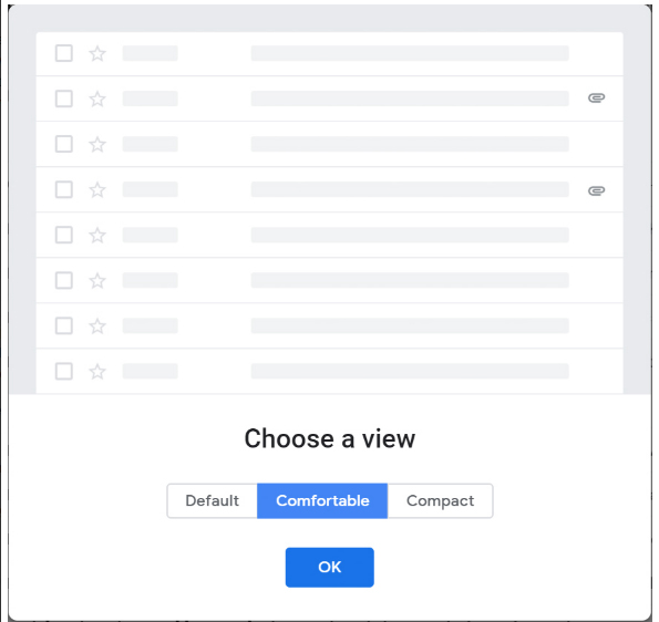 Chế độ xem Comfortable mới của Gmail