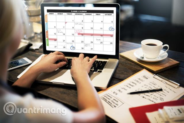 Sử dụng lịch để lên kế hoạch làm việc