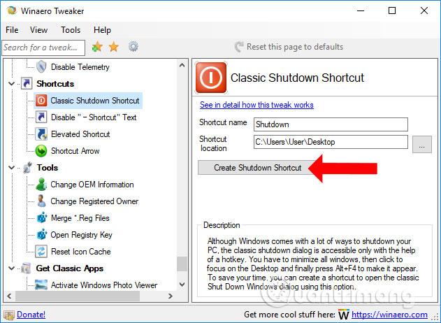 Thêm Shutdown trên Desktop