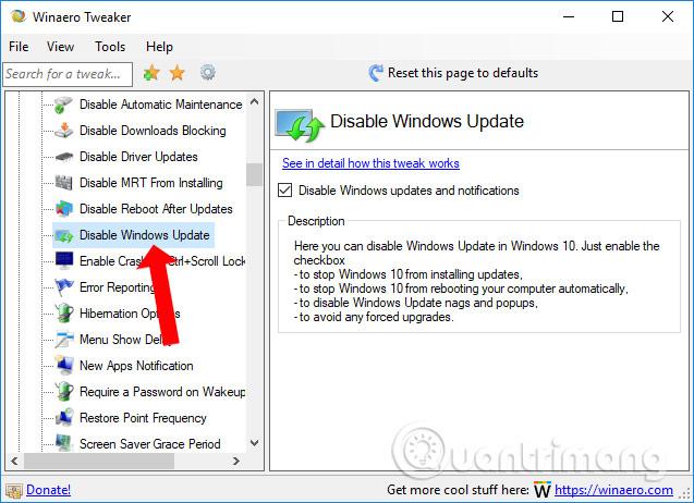 Tắt Windows Update