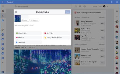 Facebook cập nhật hầu như khá đầy đủ các tính năng