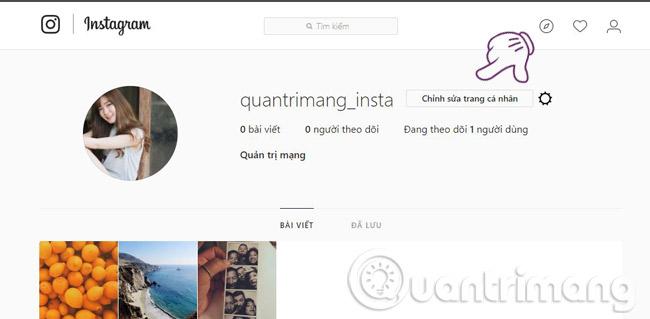 Truy cập Instagram từ máy tính và chọn mục chỉnh sửa trang cá nhân