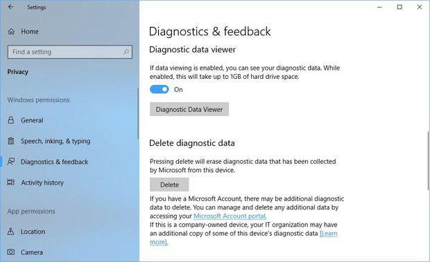 Xóa thông tin Microsoft thu thập về bạn trên Windows 10