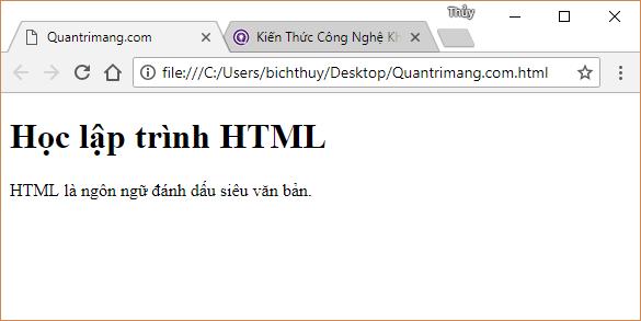 Trình duyệt hiển thị văn bản HTML