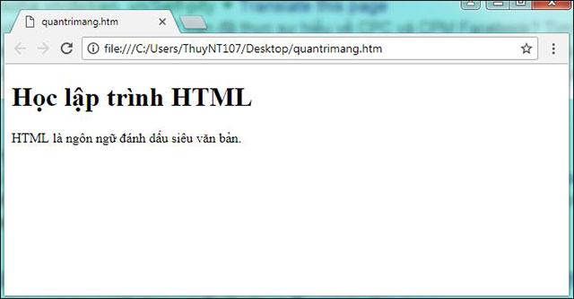 Hình ảnh hiển thị của tập tin vừa tạo trên trình duyệt Chrome
