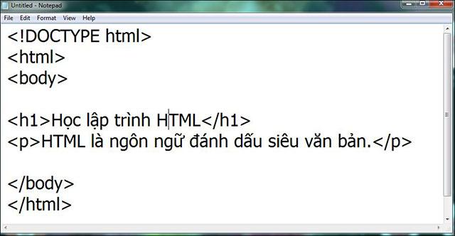 Dán đoạn mã HTML vào Notepad