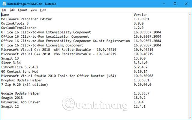 File các chương trình đã cài đặt sử dụng Command Prompt