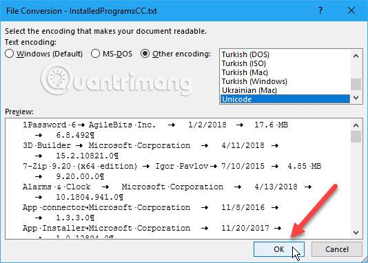 Hộp thoại File Conversion