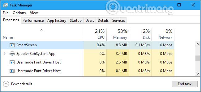 SmartScreen sử dụng CPU và bộ nhớ