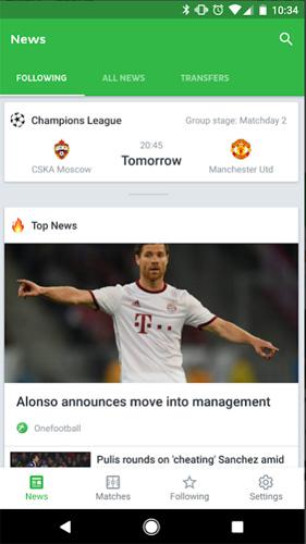 Ứng dụng tin tức bóng đá Onefootball