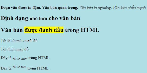 Định dạng văn bản với một số thẻ trong HTML