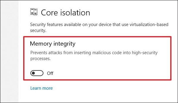 Cách bật tính năng bảo vệ Core isolation trên Windows 10 - Ảnh minh hoạ 5